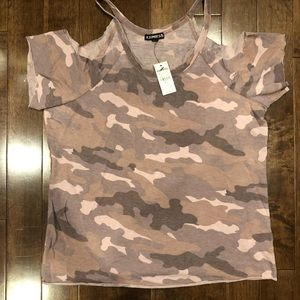 Express pink camo cut out shoulder top